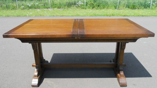 Large Old Charm Oak Drawleaf Dining Table
